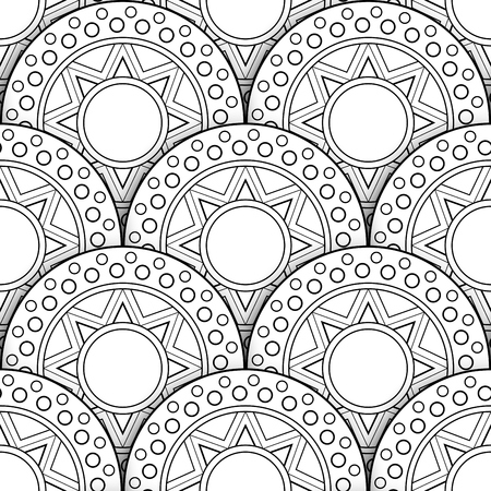 Monochrome Seamless Pattern with Scale Motifs. Endless Texture with Abstract Design Element. Dragon Imitation, Mermaid. Coloring Book Page. Vector 3d Contour Illustration. Ornate Abstraction Vettoriali