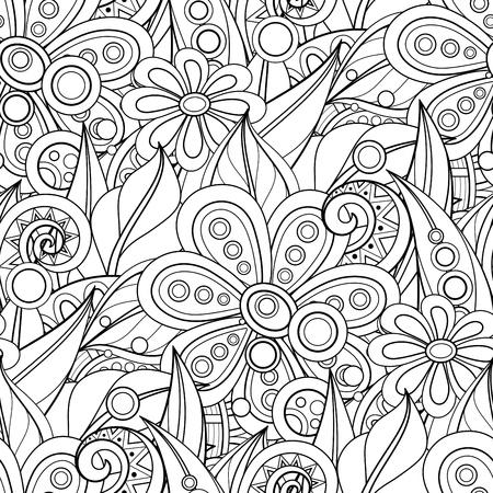 Monocromo de patrones sin fisuras con motivos florales. Textura sin fin con flores, hojas, etc. Fondo natural en estilo de línea Doodle. Página de libro para colorear. Vector ilustración de contorno. Arte abstracto