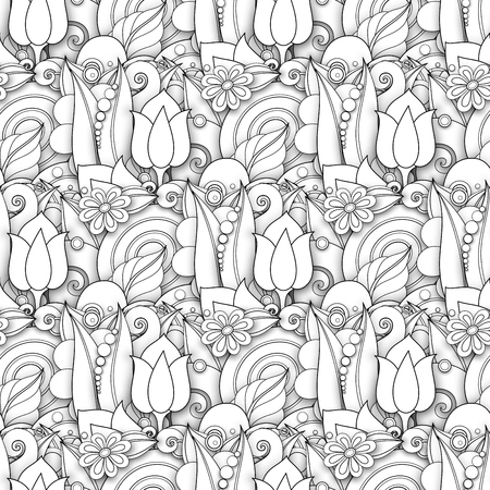 Monochrome Seamless Pattern with Floral Motifs. Endless Texture with Flowers, Leaves etc. Natural Background in Doodle Line Style. Coloring Book Page. Vector 3d Contour Illustration. Abstract Art Vettoriali