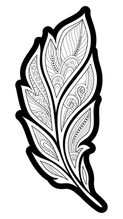 Monochrome Decorative Feather in Paisley Garden Style. Ethnic Abstract Object. Floral Motifs, Indian, Turkish Design Element. Coloring Book Page. Vector Contour Illustration. Ornate Abstraction Иллюстрация