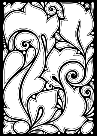 Monochrome Floral Background in Paisley Garden Indian Style. Decorative Composition with Flowers. Natural Doodle Motifs. Simple Coloring Book Page. Vector Contour Illustration. Abstract Ornate Art Vektorové ilustrace