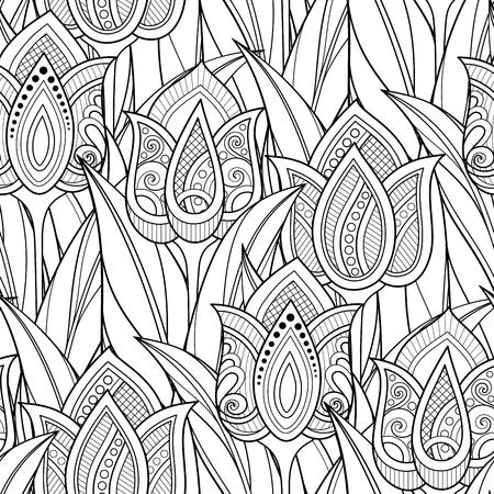 Einfarbiges nahtloses Muster mit Tulpen, Blumenmotiven. Endlose Textur mit Blumen, Blättern und Wirbeln. Batik, Paisley-Garten-Stil. Malbuchseite. Vektor-Kontur-Abbildung. Abstrakte Kunst Vektorgrafik