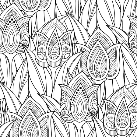 Monochrome Seamless Pattern with Tulips, Floral Motifs. Endless Texture with Flowers, Leaves and Swirls. Batik, Paisley Garden Style. Coloring Book Page. Vector Contour Illustration. Abstract Art Vettoriali