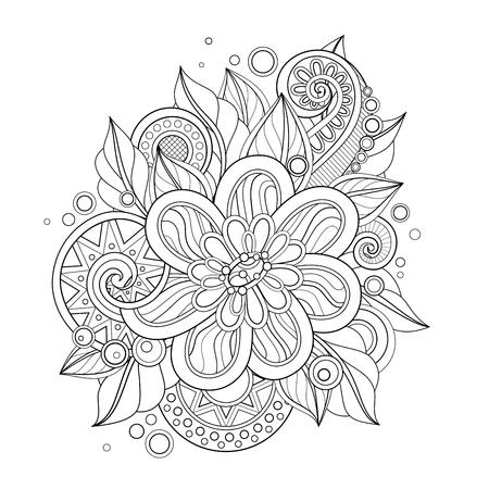 Einfarbige Blumenillustration im Doodle-Stil. Dekorative Komposition mit Blumen, Blättern und Wirbeln. Elegantes Naturmotiv. Malbuchseite. Vektor-Kontur-Kunst. Abstraktes Gestaltungselement
