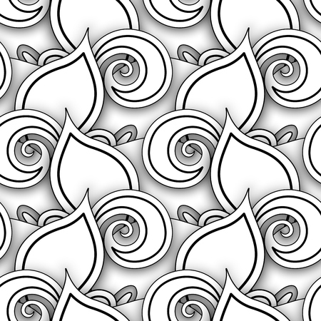 Monochrome Seamless Pattern with Floral Motifs. Endless Texture with Leaves and Swirls. Natural Background in Doodle Style. Simple Coloring Book Page. Vector 3d Contour Illustration. Abstract Art