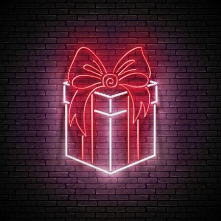 Vintage Glow Signboard with Gift and Bow. Sale Flyer, Happy Birthday Greeting Card. Shiny Neon Light Poster, Banner, Invitation. Seamless Brick Wall. Vector 3d Illustration. Clipping Mask, Editable  イラスト・ベクター素材