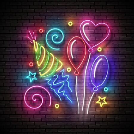 Glow Signboard with Different Balloons, Holiday Hat and Confetti. Happy Birthday Greeting Card. Neon Poster, Banner, Invitation. Seamless Brick Wall. Vector 3d Illustration. Clipping Mask, Editable  イラスト・ベクター素材