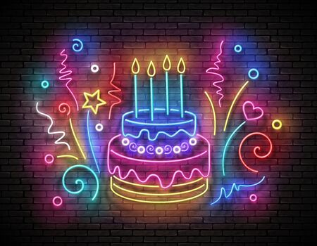 Vintage Glow Signboard with Cake, Candles and Confetti. Holiday Flyer, Happy Birthday Greeting Card. Neon Light Poster, Banner, Invitation. Brick Wall. Vector 3d Illustration. Clipping Mask, Editable