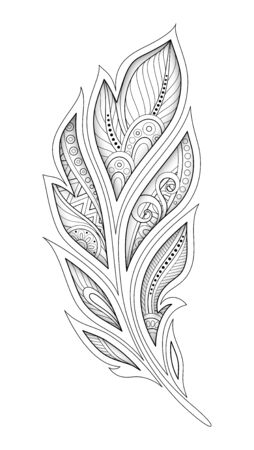 Monochrome Decorative Feather in Paisley Garden Style. Ethnic Abstract Object. Floral Motifs, Indian, Turkish Design Element. Coloring Book Page. Vector 3d Contour Illustration. Ornate Abstraction