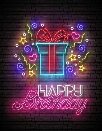 Vintage Glow Greeting Card with Gift, Confetti and Happy Birthday Inscription. Neon Lettering. Shiny Poster, Banner, Invitation. Seamless Brick Wall. Vector 3d Illustration. Clipping Mask, Editable