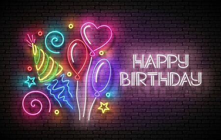 Glow Greeting Card with Different Balloons, Holiday Hat, Confetti and Happy Birthday Inscription. Neon Lettering. Poster, Banner, Invitation. Seamless Brick Wall. Vector 3d Illustration. Clipping Mask