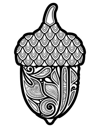 Monochrome Decorative Acorn. Fall Plant with Paisley Floral Ornament, Indian Motifs. Design Element for Print, Label,   Packaging Template. Coloring Book Page. Vector 3d Contour Illustration