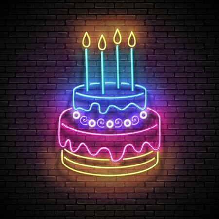 Vintage Glow Signboard with Cake and Candles. Holiday Flyer, Happy Birthday Greeting Card. Neon Light Poster, Banner, Invitation. Seamless Brick Wall. Vector 3d Illustration. Clipping Mask, Editable  イラスト・ベクター素材