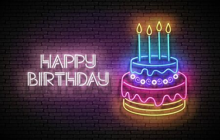 Glow Greeting Card with Cake, Candles and Happy Birthday Inscription. Neon Lettering. Shiny Poster, Banner, Invitation. Seamless Brick Wall. Vector 3d Illustration. Clipping Mask, Editable