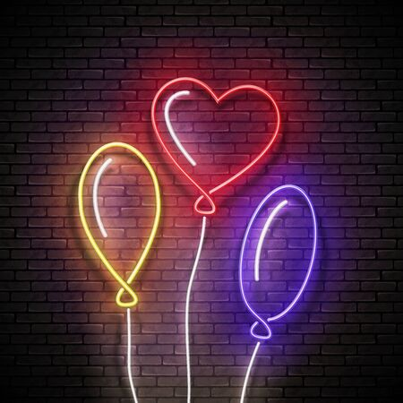 Glow Signboard with Different Form Balloons. Sale Flyer, Happy Birthday Greeting Card. Neon Light Poster, Banner, Invitation. Seamless Brick Wall. Vector 3d Illustration. Clipping Mask, Editable