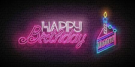 Glow Greeting Card with Piece of Cake, Candle and Happy Birthday Inscription. Neon Lettering. Shiny Poster, Banner, Invitation. Seamless Brick Wall. Vector 3d Illustration. Clipping Mask, Editable  イラスト・ベクター素材