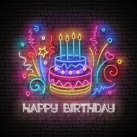Glow Greeting Card with Cake, Candles, Confetti and Happy Birthday Inscription. Neon Lettering. Shiny Poster, Banner, Invitation. Seamless Brick Wall. Vector 3d Illustration. Clipping Mask, Editable  イラスト・ベクター素材