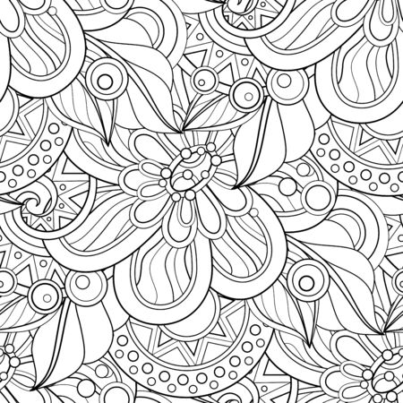 Monochrome Seamless Pattern with Floral Motifs. Endless Texture with Flowers, Leaves etc. Natural Background in Doodle Line Style. Coloring Book Page. Vector Contour Illustration. Abstract Art Imagens - 128883598