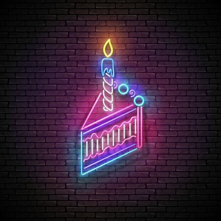 Glow Signboard with Piece of Cake and Candle. Holiday Flyer, Happy Birthday Greeting Card. Neon Light Poster, Banner, Invitation. Seamless Brick Wall. Vector 3d Illustration. Clipping Mask, Editable