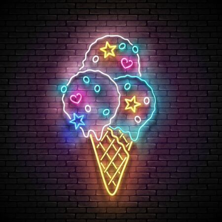 Vintage Glow Signboard with Ice Cream Balls in Cone and Candies. Cafe Flyer Template. Shiny Neon Light Poster, Banner, Invitation. Seamless Brick Wall. Vector 3d Illustration. Clipping Mask Çizim
