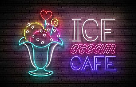 Vintage Glow Poster with Ice Cream  Ball in Vase and Inscription. Neon Lettering. Template for Flyer, Banner, Invitation. Brick Wall, Vertical Seamless. Vector 3d Illustration. Clipping Mask, Editable Çizim