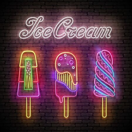 Vintage Glow Poster with Ice Cream Lolly and Inscription. Neon Lettering. Template for Flyer, Banner, Invitation. Brick Wall, Seamless. Vector 3d Illustration. Clipping Mask, Editable Çizim