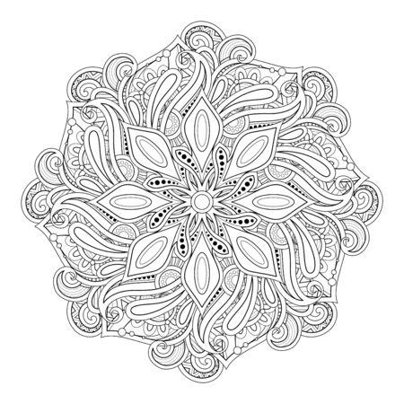 Bellissimo mandala decorativo monocromatico. Simbolo indiano Paisley. Yoga, elemento di design di meditazione. Pagina del libro da colorare, terapia artistica. Illustrazione di contorno vettoriale Vettoriali