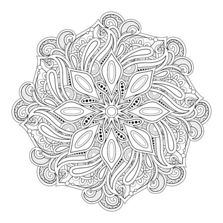 Monochrome Beautiful Decorative Mandala. Paisley Indian Symbol. Yoga, Meditation Design Element. Coloring Book Page, Art Therapy. Vector Contour Illustration