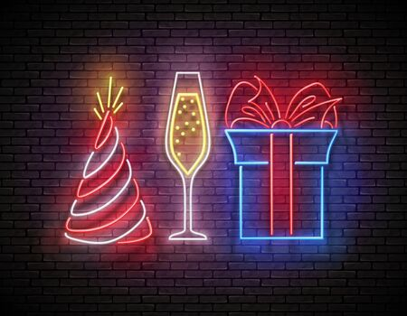 Signboard with Gift, Champagne and Holiday Hat. Romantic Flyer, Happy Birthday Greeting Card. Poster, Banner, Invitation. Brick Wall, Vertical Seamless. Vector 3d Illustration. Clipping Mask, Editable Çizim
