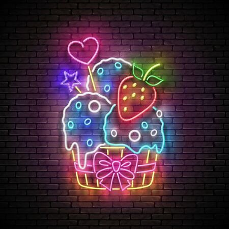 Vintage Glow Signboard with Ice Cream Balls and Strawberry in Paper Cup. Cafe Flyer Template. Neon Light Poster, Banner, Invitation. Seamless Brick Wall. Vector 3d Illustration. Clipping Mask