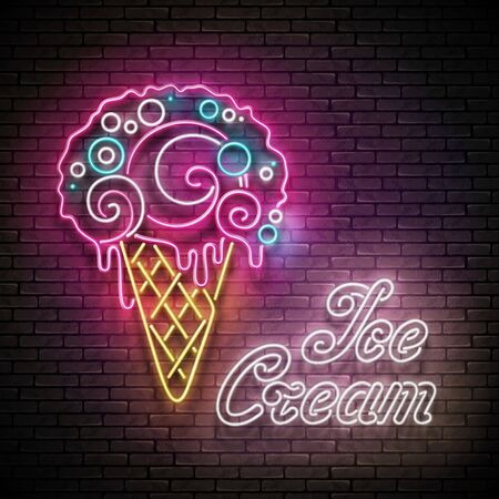Vintage Glow Poster with Ice Cream Ball in Cone and Inscription. Neon Lettering. Template for Flyer, Banner, Invitation. Brick Wall, Vertical Seamless. Vector 3d Illustration. Clipping Mask, Editable Çizim