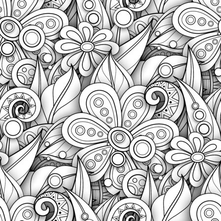 Monochrome Seamless Pattern with Floral Motifs. Endless Texture with Flowers, Leaves etc. Natural Background in Doodle Line Style. Coloring Book Page. Vector 3d Contour Illustration. Abstract Art 일러스트