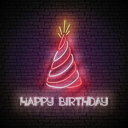 Vintage Glow Greeting Card with Holiday Hat and Happy Birthday Inscription. Neon Lettering. Shiny Poster, Banner, Invitation. Seamless Brick Wall. Vector 3d Illustration. Clipping Mask, Editable Stock Illustratie