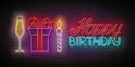 Glow Greeting Card with Gift, Champagne, Candle and Happy Birthday Inscription. Neon Lettering. Shiny Poster, Banner, Invitation. Seamless Brick Wall. Vector 3d Illustration. Clipping Mask, Editable