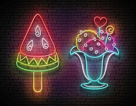 Set of Vintage Glow Signboards with Ice Cream Balls in Vase and Watermelon Sorbet. Neon Template for Flyer, Poster, Banner, Playbill, Invitation. Brick Wall. Vector 3d Illustration. Clipping Mask