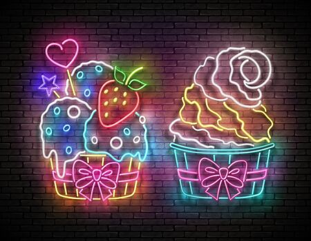 Set of Vintage Glow Signboards with Ice Cream in Paper Cups. Cafe Flyer Template. Neon Light Poster, Banner, Invitation. Brick Wall. Vector 3d Illustration. Clipping Mask, Editable 일러스트