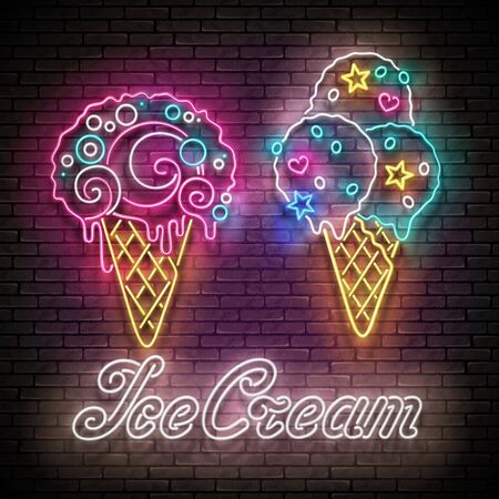 Vintage Glow Poster with Different Ice Cream in Waffle Cones and Inscription. Neon Lettering. Template for Flyer, Banner, Invitation. Seamless Brick Wall. Vector 3d Illustration. Clipping Mask