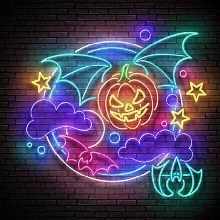 Glow Halloween Greeting Card with Flying Vampire Pumpkin on the Night Sky. Postcard Holiday Template. Shiny Neon Light Poster, Banner, Invitation. Brick Wall. Vector 3d Illustration. Clipping Mask