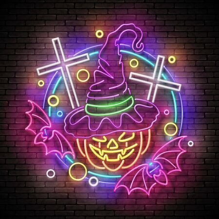 Glow Halloween Greeting Card with Witch Pumpkin, Crosses and Bats. Postcard Holiday Template. Shiny Neon Light Poster, Banner, Invitation. Brick Wall. Vector 3d Illustration. Clipping Mask, Editable Stock Illustratie