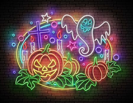 Glow Halloween Greeting Card with Witch Pumpkin, Crosses, Candles and Ghrost. Postcard Holiday Template. Shiny Neon Light Poster, Banner, Invitation. Brick Wall. Vector 3d Illustration. Clipping Mask