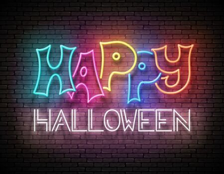Glow Greeting Card with Happy Halloween Inscription. Neon Light Lettering. Shiny Template Poster, Banner, Invitation. Brick Wall. Vector 3d Illustration. Clipping Mask, Editable