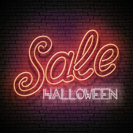 Glow Greeting Card with Halloween Sale Inscription. Neon Light Lettering. Shiny Template Poster, Banner, Invitation. Brick Wall. Vector 3d Illustration. Clipping Mask, Editable