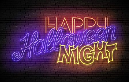 Glow Greeting Card with Halloween Night Party Inscription. Neon Light Lettering. Shiny Template Poster, Banner, Invitation. Brick Wall. Vector 3d Illustration. Clipping Mask, Editable