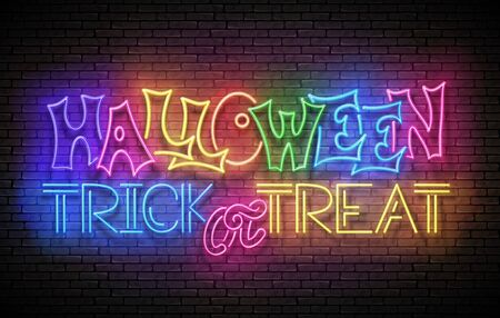 Glow Greeting Card with Halloween Trick or Treat Inscription. Neon Light Lettering. Shiny Template Poster, Banner, Invitation. Brick Wall. Vector 3d Illustration. Clipping Mask, Editable