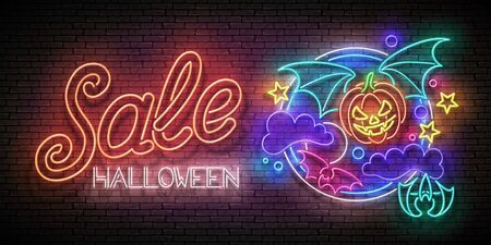 Glow Halloween Greeting Card with Vampire Pumpkin on the Night Sky and Inscription. Neon Lettering. Shiny Template Poster, Banner, Invitation. Brick Wall. Vector 3d Illustration. Clipping Mask