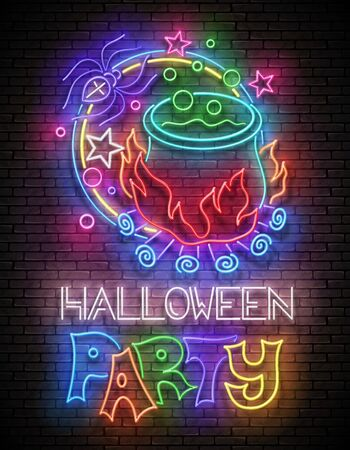 Glow Halloween Greeting Card with Potion in Witchs Cauldron, Spider and Inscription. Neon Lettering. Shiny Template Poster, Banner, Invitation. Brick Wall. Vector 3d Illustration. Clipping Mask