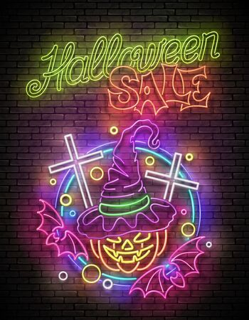 Glow Halloween Greeting Card with Witch Pumpkin, Crosses, Bats and Inscription. Neon Lettering. Shiny Template Poster, Banner, Invitation. Brick Wall. Vector 3d Illustration. Clipping Mask, Editable