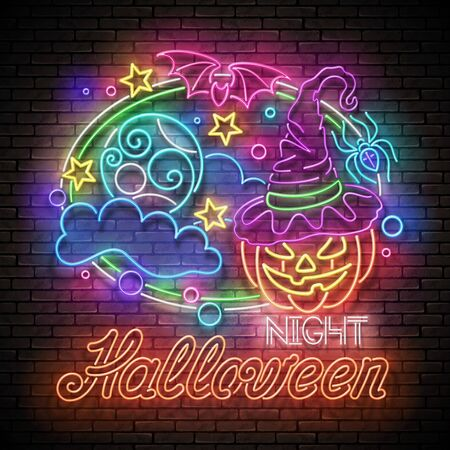 Glow Halloween Greeting Card with Witch Pumpkin, Bat, Moon on the Night Sky and Inscription. Neon Lettering. Template Poster, Banner, Invitation. Brick Wall. Vector 3d Illustration. Clipping Mask Stock Illustratie