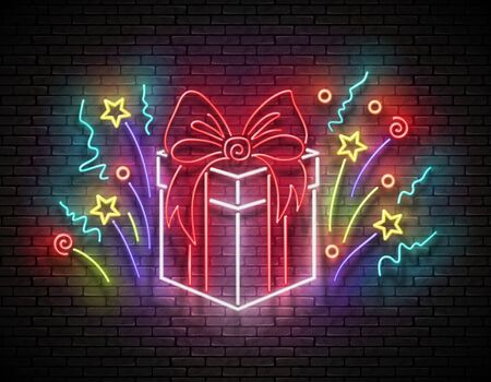 Vintage Glow Signboard with Gift and Confetti. Sale Flyer, Happy Birthday Greeting Card. Shiny Neon Light Poster, Banner, Invitation. Brick Wall. Vector 3d Illustration. Clipping Mask, Editable