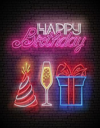 Glow Greeting Card with Gift, Champagne, Holiday Hat and Happy Birthday Inscription. Neon Lettering. Poster, Banner, Invitation. Seamless Brick Wall. Vector 3d Illustration. Clipping Mask, Editable